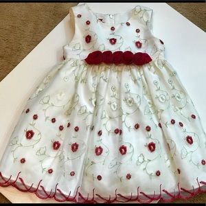 Other - Girl 24 mo Holiday Party White Red Green Dress EUC